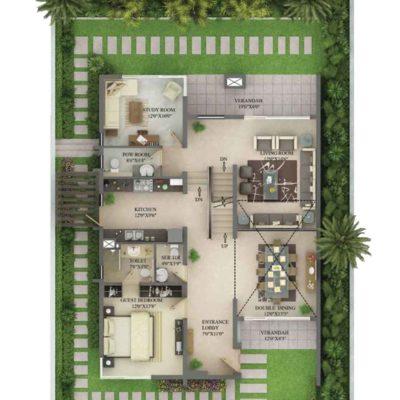 3990 Sq.ft Villa Ground Floor Plan
