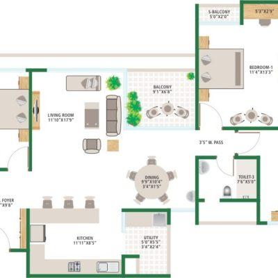 3BHK Floor Plan of Alchemy Urban Forest