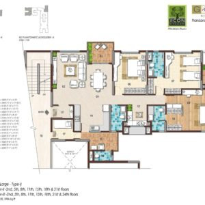 3BHK Large Type 1 Floor Plan