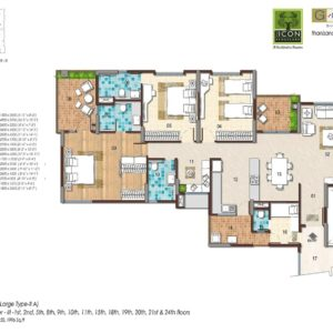 3BHK Large Type 2A Floor Plan
