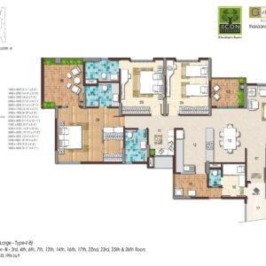 3BHK Large Type 2B Floor Plan