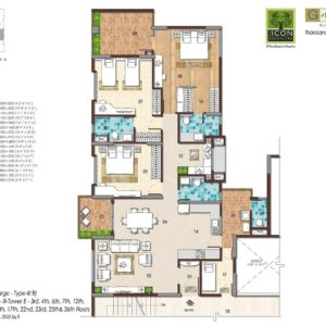 3BHK Large Type 3B Floor Plan