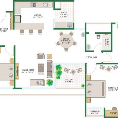 3BHK-Large-floor Plan - Alchemy Urban Forest