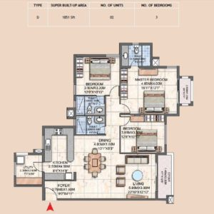 3BHK Type D Floor plan