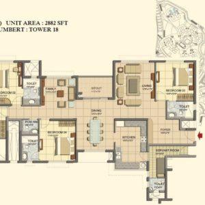 4 BHK- Type K- TOWER 18- Prestige Lakeside Habitat Floor Plan