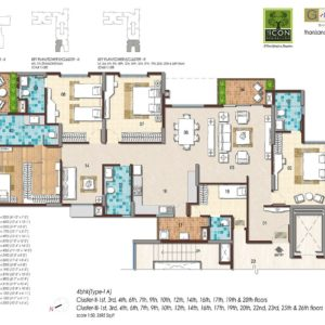 4BHK Type 1A Floor Plan