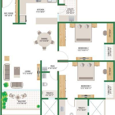2BHK Floor Plan- Alchemy Urban Forest