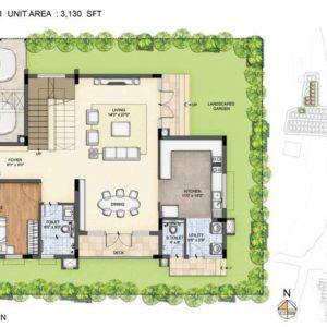 Arista-Type 1-villa floor Ground plan