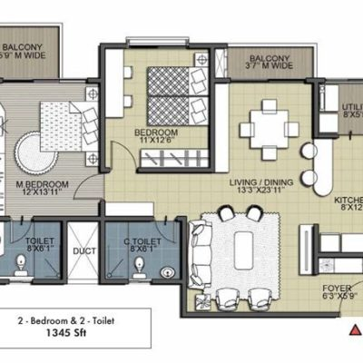 Cedar 2 BHK 2T Floor Plan