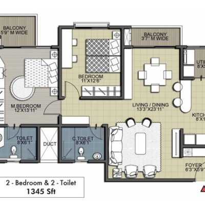 Deodar 2BHK 2T Floor Plan
