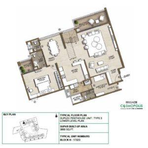 Duplex PentHouse-Type3-Lower-Level-Floor-Plan