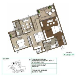 Duplex PentHouse-Type3-Upper-Level-Floor-Plan