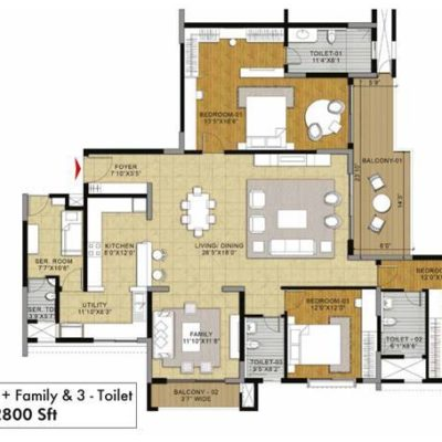 Ginger 3BHK -3T-Family Floor Plan