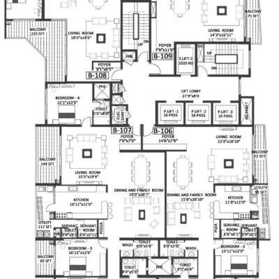Godrej Platinum Wing B - First Floor Plan
