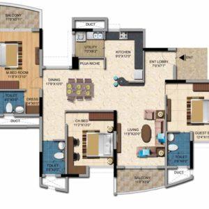 3 BHK- 2002 sft Salarpuria Casa Irene Floor Plan