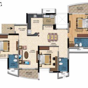 3BHK -1985 Sft Salarpuria Casa Irene Floor Plan