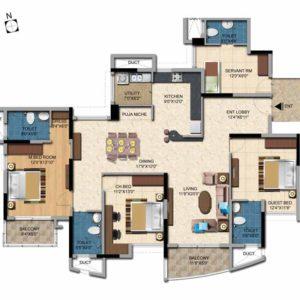 3BHK-2220 Sft Salarpuria Sattva Casa Irene Floor Plan