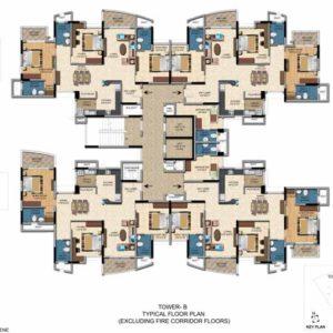 Typical Floor Plan Tower B - Salarpuria Sattva Casa Irene