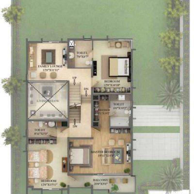 5000 Sq.ft Villa First Floor Plan