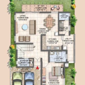 Villa Type A1 Ground Floor Plan