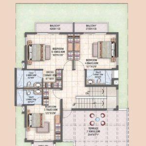 Villa Type B First Floor Plan-Prestige Silver oak villas for sale in bangalore
