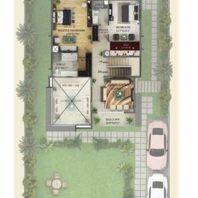5530 Sq.ft Villa Ground Floor Plan