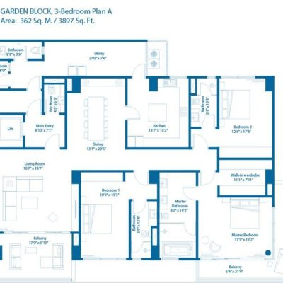 Embassy Lake Terraces Bangalore 3 BHK - Floor Plan