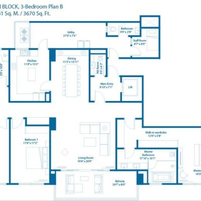 3 Bedroom Floor Plan - Embassy Lake Terraces