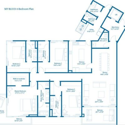 4 BHK Floor Plan of Embassy Lake Terraces