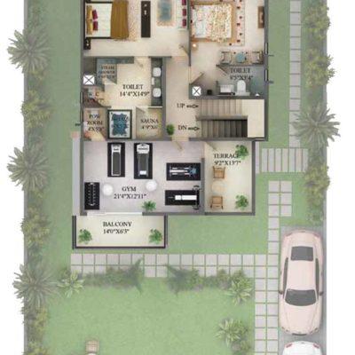 5530 Sq.ft Villa Second Floor Plan