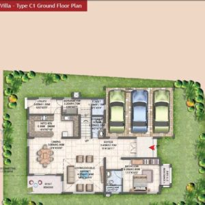 villa type C1 Ground Floor Plan