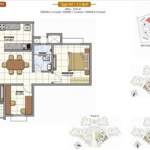 1.5 BHK Prestige Sunrise Park Floor Plan