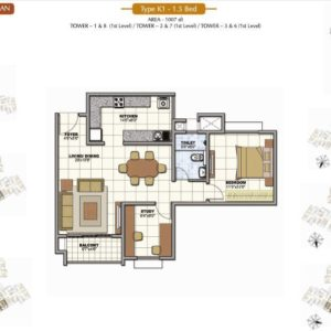 1.5 Bedroom Prestige Sunrise Park Floor Plan
