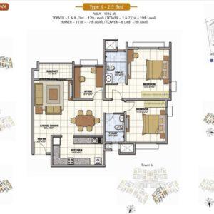 2.5 BHK Prestige Sunrise Park Floor Plan