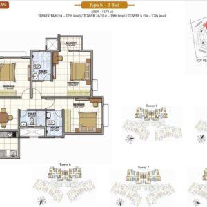 3 Bedroom Prestige Sunrise Park Floor Plan