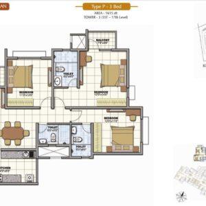 3 Bedroom Prestige Sunrise Park Floor Plan Bangalore