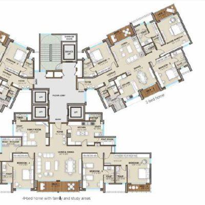 3 and 4 Bedroom Phoenix one Bangalore West Floor plan