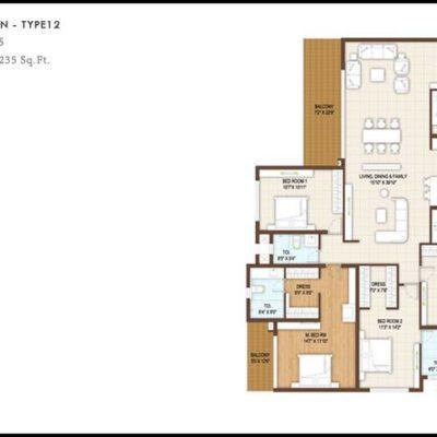4 BHK Floor Plan Type12-DNR Reflection