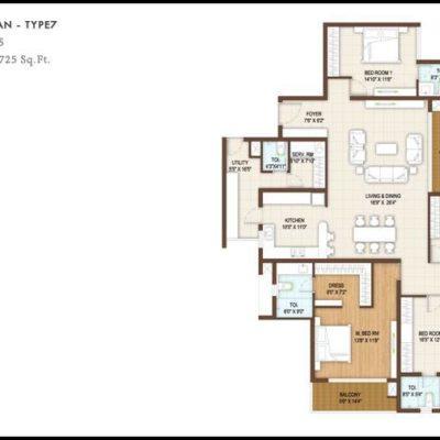 4BHK Floor Plan Type7-DNR Reflection