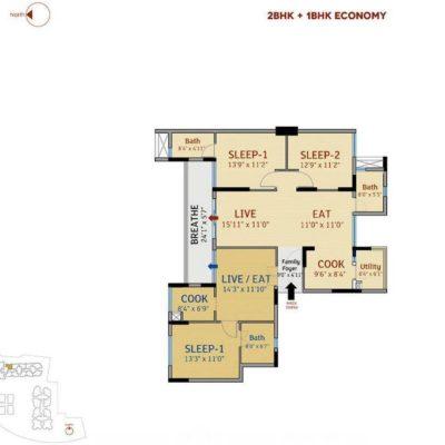 2BHK+1BHK-divyasree-77-Place-plan