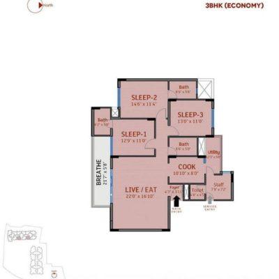 3 Bedroom-divyasree-77-place-floor-plan
