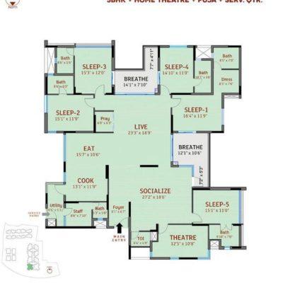 5BHK-divyasree-77-place-plan