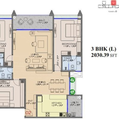 advantage-raheja-pebble-bay-3 bedroom-floor-plan