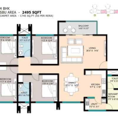 4 Bedroom Floor Plan - Raheja PebbleBay Koramangala