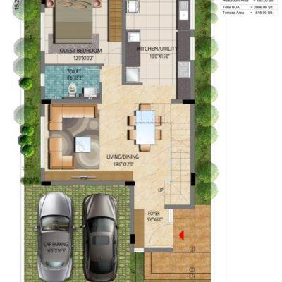 Lake View Address 1500 sft Villa Plan