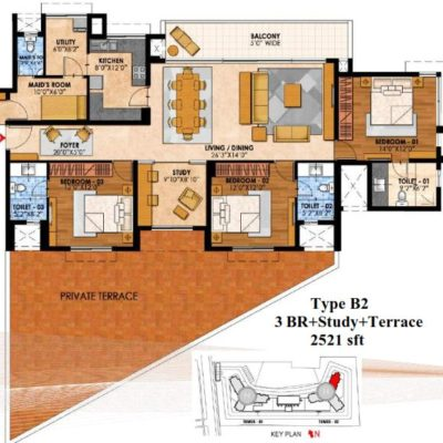 prestige-fairfield-3-bhk-study-floor-plan