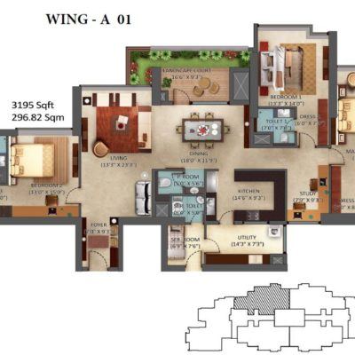 3 Bedroom Floor Plan - Mantri Centrium