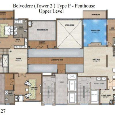 Prestige White Meadows Pehthouse Upper  Level Plan