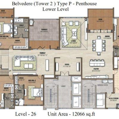 Prestige White Meadows Pehthouse Lower  Level Plan