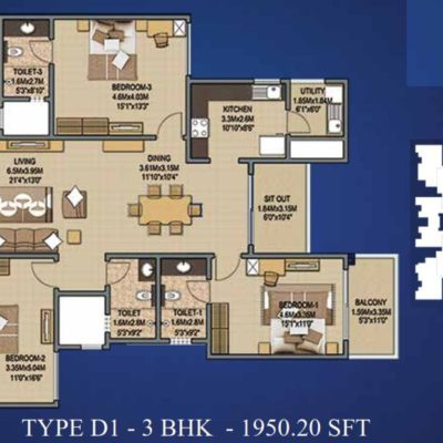 Sobha Indraprastha 3 Bedroom Floor Plans